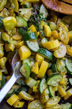 10 Minute Sautéed Zucchini and Squash Side Dish - The Food Charlatan Zuchini And Squash Recipes, Yellow Zucchini Recipes, Sauteed Zucchini Recipes, Roasted Zucchini And Squash, Zucchini Vegetable, Grilled Squash, Zucchini Side Dishes, Roast Zucchini, Salads