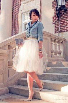 chambray shirt, tulle skirt, classic heels