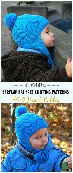 I Heart Cables Hat Free Knitting Pattern - Knit Earflap Hat Free Patterns patterns free hat earflap hat baby boy