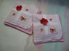 These beautiful sachets were created from a vintage (1940-1960) lady's handkerchief and vintage tiny pink…