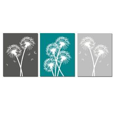 Modern Dandelion Trio - Set of Three Dandelion Floral 11x14 Coordinating Prints - Choose Your Colors - Shown in Teal, Gunmetal, Pale Gray