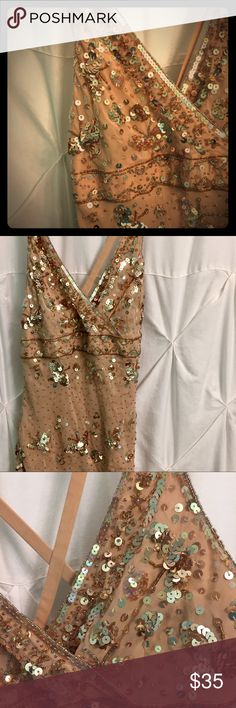 Sparkly Rose Gold Silk Chiffon Dressy Tank Sequined and beaded butterfly design on layered silk chiffon. Bust area is lined. There are a few minor flaws in beading, but unnoticeable unless you're looking for them. Pics don't do this beauty justice. bebe Tops