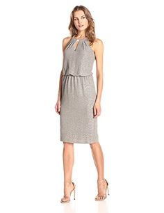London Times Womens Sleeveless Scoop Neck Chiffon Blouson Dress