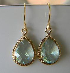 Green Amethyst and Gold Earrings Bridesmaid by Greenperidot, $24.50