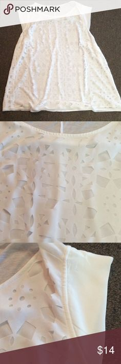 """Apt 9 white shirt. Sz 1X Excellent condition cute cutout design with liner behind it. Cap sleeves.Chest measures 24"""" length is 29"""". Add items o a bundle to receive a private offer. Apt. 9 Tops"""