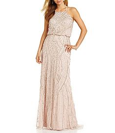 Adrianna Papell Beaded Blouson Gown #Dillards