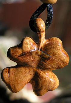 """Carved Four Leaf Clover Linden Wood, 1 1/4"""" x 1 3/8"""" Pendent Necklace."""