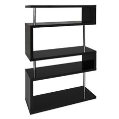 Miami Medium High Gloss Shelving Unit Black