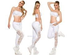 Bílé skinny jeans s krajkou - white skinny jeans with lace - new trendy white jeans for all fashionistas