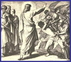 """Wednesday, July 2: Matthew 8:28-34: When Jesus came to the territory of the Gadarenes, two demoniacs who were coming from the tombs met him. They were so savage that no one could travel by that road. They cried out, """"What have you to do with us, Son of God? Have you come here to torment us before the appointed time?"""" Some distance away a herd of many swine was feeding. The demons pleaded with him, """"If you drive us out, send us into the herd of swine."""""""