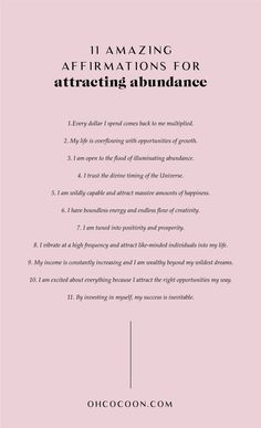 11 Amazing Affirmations for Attracting Abundance. Repeat these affirmations ever. - 11 Amazing Affirmations for Attracting Abundance. Repeat these affirmations ever… 11 Amazing Af - Affirmations Positives, Positive Affirmations Quotes, Self Love Affirmations, Words Of Affirmation, Morning Affirmations, Law Of Attraction Affirmations, Money Affirmations, Positive Quotes, Affirmations For Success