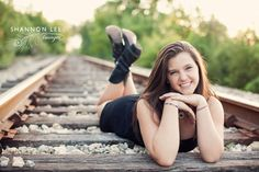 railroad tracks senior portrait poses. #photography