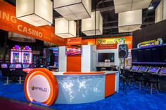 Pretty cool around-the-world light up reception desk created by Hill & Partners especially for Spielo at G2E