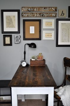 Home office space DIY Farmhouse desk Gray washed stain  New home