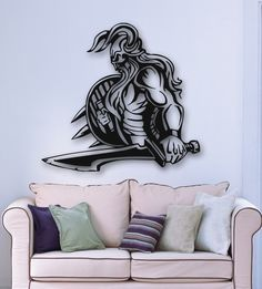 A historic sticker illustrating a Viking warrior. Fantastic detail to decorate your children´s room and let them go to Dreamland.This brilliant design will give your children´s room the look it needs. Make their play time fun and joyful. Wall Stickers, Vinyl Decals, Wall Decals, Ice Castles, Viking Warrior, Medieval Knight, Vikings, Joyful, Sword
