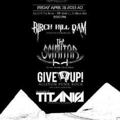 Live: Birch Hill Dam, The Scimitar, Titanis – Silk City Taproom, Florence, MA, USA. April 19th 2013.