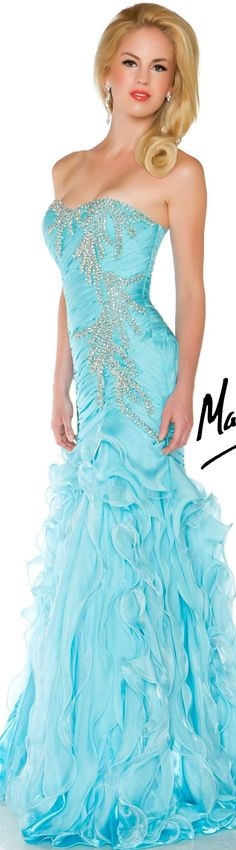 MERMAID PRODUCTS Mac Duggal couture dress aqua BALL GOWNS  STYLE 6168H
