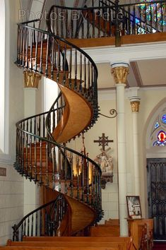 "Loretto Chapel staircase, Santa Fe, NM. The ""miracle"" spiral without central support. A beautiful, little chapel attached to the Loretto Inn."