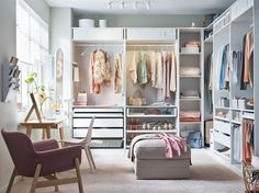 Attempting to install an IKEA PAX closet system? Avoid divorce court and a raging headache with these expert tips. Ikea Bedroom, Closet Bedroom, Bedroom Storage, Bedroom Furniture, Bedroom Decor, Bedroom Into Dressing Room, Spare Room Closet, White Bedroom, Furniture Ideas