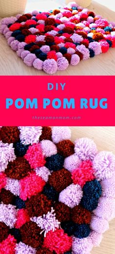 DIY POM POM RUG - Do you love soft, squishy rugs? Add some fluffy, cute accent to any room with this DIY pom pom rug that is insanely easy to make!
