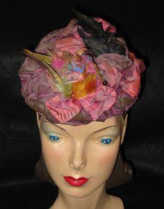 Antique Victorian Bustle Era Hat with Real by MyVintageHatShop, $425.00