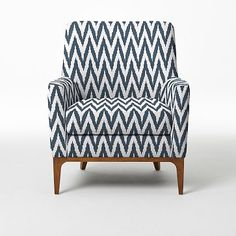Sloan Chair, Blue Lagoon, Chevron Blue ikat chevron