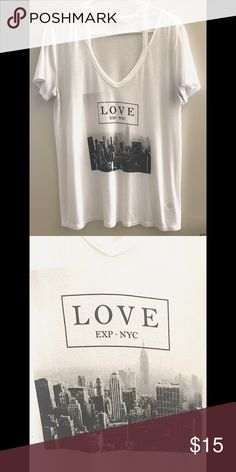 Express Love NYC tee 67% Modal, 28% Polyester and 5% Spandex. NO TRADES 🙅🏻 ALL REASONABLE OFFERS ARE ACCEPTED 😊👍🏽 NO LOWBALLERS!!! 😒✌🏽️✌🏽 LET'S BUNDLE!!!! 🎋🎉🎁🎊🎈 Express Tops Tees - Short Sleeve