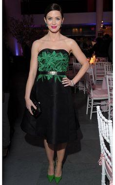Emily Blunt. Jason Wu dress, Alice + Olivia shoes, Valentino clutch, Lorraine Schwartz earrings....... just my style!!
