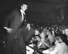 On stage with Martin & Lewis, 1947.  Dean is singing a duet with Vivian Blaine.