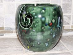 Yarn Bowl, triple thread, Dark Green speckled glaze.  Measures 6 x 6. Great Christmas gift for the knitter. by GabiLuBoutique on Etsy