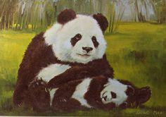 Vintage PANDA FAMILY Bookplate Book Print Sadako Mano 1988