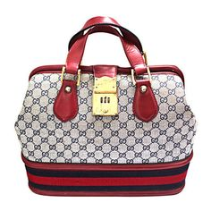 GUCCI monogrammed canvas   red leather travel bag - I love vintage. 5ea9bf710bee2