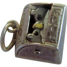RARE Sterling Enamel Breadbox Charm Opens to Two Mice 1900..