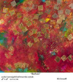 """Barbara"" by Barbara McGivern © Acrylic on canvas using gold leaf and Swarovski crystals"