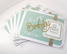 """Happy Birthday Handmade Cards, Handcrafted Greeting Cards, Set Of Cards For Birthdays, Mint And Tan Cards, Cards With Elegant Design. Die-cutting and stamping are the main techniques used in the making of this 3 1/2 x 5"""" cards 6pk. Blank inside with white gummed envelopes included. Artsy Craftery Studio for the #positivewordsartwork shop"""