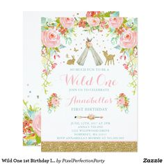 Shop Wild One Birthday Invitation Wild One Party created by PixelPerfectionParty. Wild One Birthday Invitations, Halloween Birthday Invitations, Fall Birthday, Pink Invitations, Girl First Birthday, First Birthday Parties, Custom Invitations, First Birthdays, Invites