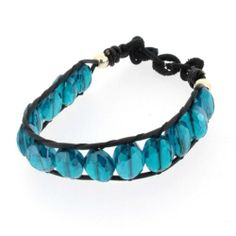 "8"" Blue Quartz Stretch Beaded Bracelet Stone Semi Prescious Jewelry Black Cord 