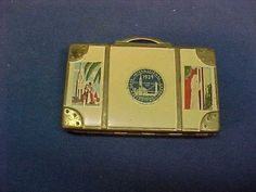 1939 GOLDEN GATE EXPOSITION Souvenir LUGGAGE COMPACT with LOGO + LABELS