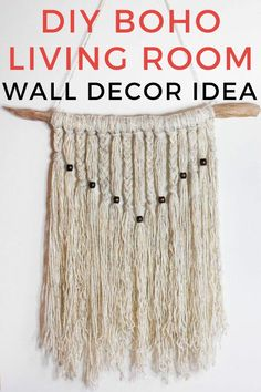 Do you love bohemian decor? Then you'll love this cheap wall decoration idea for your bedroom or living room. This easy DIY craft is easy and budget friendly with things you can pick up from your local dollar tree or hobby store. Yarn Wall Hanging, Tapestry Wall Hanging, Room Wall Decor, Diy Wall Decor, Boho Diy, Bohemian Decor, Shabby Chic Painting, Lighted Canvas, Dollar Store Crafts