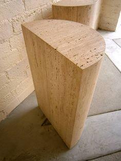 Imposing Pair of Semi-Circular Travertine Table Bases C. 1970s image 8
