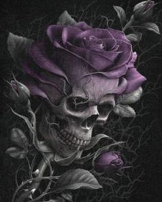 A macabre yet beautiful design fusing a gothic skull and the delicate purple petals of an evening rose. Kunst Tattoos, Bild Tattoos, Tattoo Drawings, Art Drawings, Tattoo Art, Skull Rose Tattoos, Body Art Tattoos, Dead Rose Tattoo, Purple Rose Tattoos
