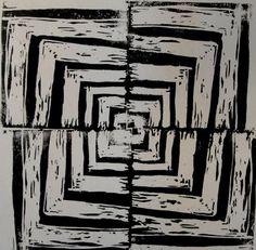 Linoleum or Styrofoam Printmaking.  Simple design printed to create radial symmetry.  OP-Art lesson or Bridget Riley or Vassarelly
