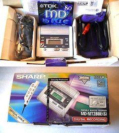Personal MiniDisc Recorders: Vintage Sharp Minidisc Walkman Player Recorder Mt280e BUY IT NOW ONLY: $119.95