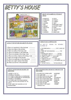 BETTY'S HOUSE. Prepositions and locations worksheet. Great idea could be replicated with many illustrations.
