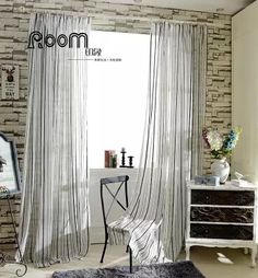 Quality Chenille Stripe Sheer Tulle Curtain For Living Room Bedroom Window, Hooking Top