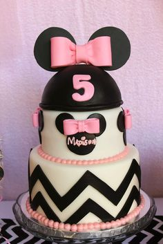 Minnie Mouse Cake!!! Minnie Mouse themed birthday party with Lots of Really Cute Ideas via Kara's Party Ideas   KarasPartyIdeas.com #minniemouseparty #minniemous...