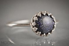 CONSTELLATION - Gemstone ring with blue Goldstone in Argenitium Sterling Silver