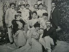 """Proust in Evian:  From left to right, standing: Prince Edmond de Polignac, Ms. Bartholoni (Chateaubriand's goddaughter), Marcel Proust, the Prince Constantin Brancoveanu (brother of Anna de Noailles), Miss Jeanne Bartholoni, Leon Delafosse. 2nd row: Ms. Monteynard Wnnaretta Singer, Princesse de Polignac, Countess Anna de Noailles, 1st row: Princess Helen of Caraman-Chimay (sister Anna de Noailles), Abel Hermant"""""""
