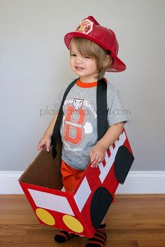 This DIY firetruck outfit will totally complete your toddlers' playtime fun! Just a few quick steps and your little guy will be ready to fuel up and go. Create a race car version for even more speed!