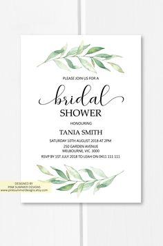 Greenery bridal shower invitations printable, bridal shower ideas invites, garden wedding ideas from Pink Summer Designs on Etsy